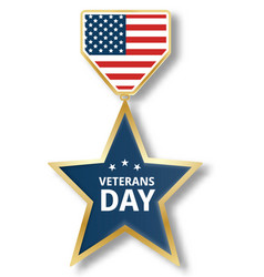 veterans day star icon logo realistic style vector image