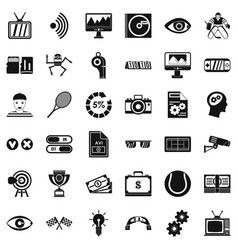 Video file icons set simple style vector