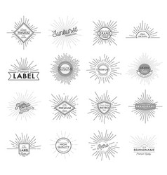 Vintage monochrome sunburst labels set vector