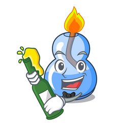 With beer alcohol burner mascot cartoon vector