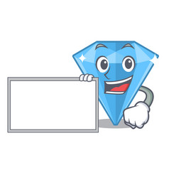 With board sapphire gems isolated in character vector