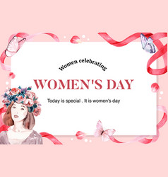 Women day frame design with woman flower vector