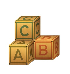 Wooden alphabet letter boxes vector