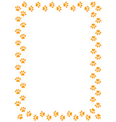 Yellow animal paw prints border frame vector