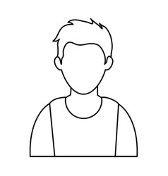 Young man wearing sleeveless top faceless avata vector