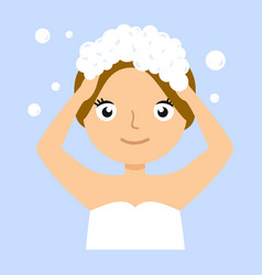 Young woman washing her head with shampoo vector