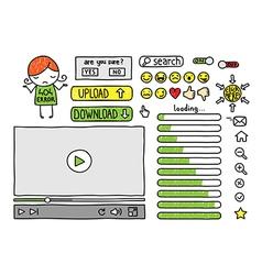 doodle web elements vector image vector image