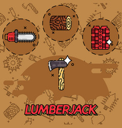 lumberjack flat concept icons vector image vector image