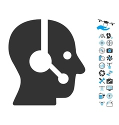 Operator icon with air drone tools bonus vector