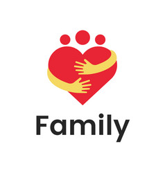 people group family heart hug logo design graphic vector image
