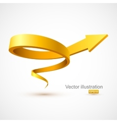 Yellow spiral arrow vector image vector image
