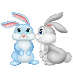 Cute rabbit kissing vector image