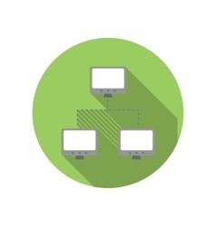 Exchange of data between three computers flat icon vector
