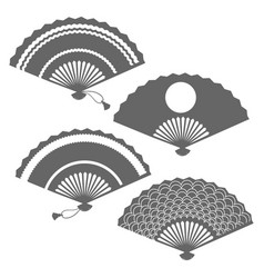 Grey fans silhouettes on white backdrop vector