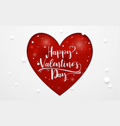 happy valentines day typography and heart vector image vector image