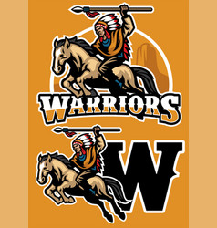indian warrior riding horse mascot vector image vector image