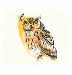 owl hand-drawing on a watercolor background vector image vector image