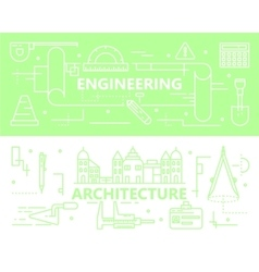 set of thin line Engineering and vector image