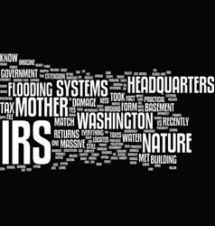 the irs vs mother nature text background word vector image vector image