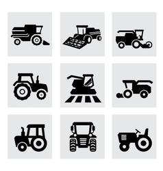 black agricultural transport icons set vector image