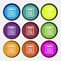 Calculator icon sign Nine multi colored round vector image
