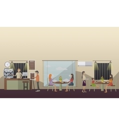 Coffee cafe concept in flat vector image vector image