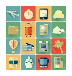 Flat icons travel vector