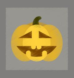 flat shading style icon halloween pumpkin vector image vector image