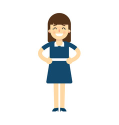 happy young woman with hands on waist gesture vector image