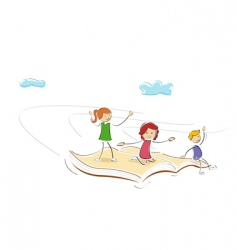 kids flying on book vector image vector image