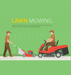 man mowing the lawn with red lawn mower vector image