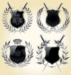 vector shields laurel wreaths vector image vector image
