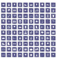 100 park icons set grunge sapphire vector