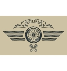 Auto emblem in vintage style vector image
