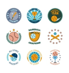 Baseball labels icons color set vector