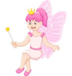 cute little fairy girl cartoon sitting vector image
