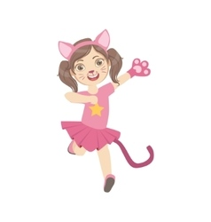 Girl wearing cat animal costume vector