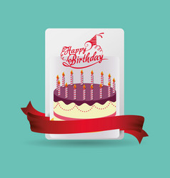 happy birthday card cake celebration vector image vector image