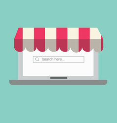 laptop with awning and search tab computer vector image