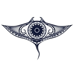 Maori style tattoo pattern in shape of manta ray vector