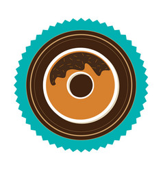 stamp border with donut with chocolate glazed vector image
