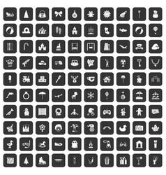 100 happy childhood icons set black vector