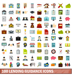 100 lending guidance icons set flat style vector