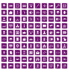 100 security icons set grunge purple vector