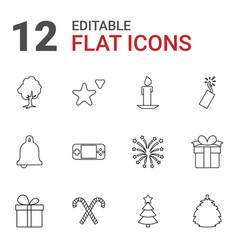 12 christmas icons vector
