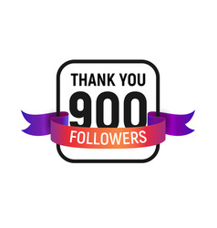 900 followers number with color bright ribbon vector image