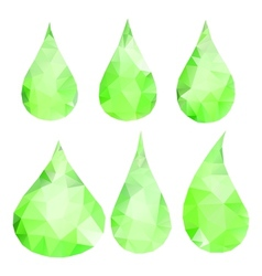 Abstract green drops consisting of triangles vector