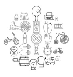 alacrity icons set outline style vector image