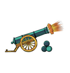 an ancient cannon with gun cores gunshot cartoon vector image