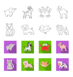 An unrealistic outlineflat animal icons in set vector